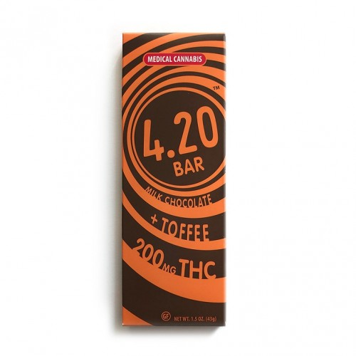 Milk Chocolate + Toffee 4.20Bar - 180mg Logo